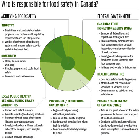 Canadian food safety responsibility chart